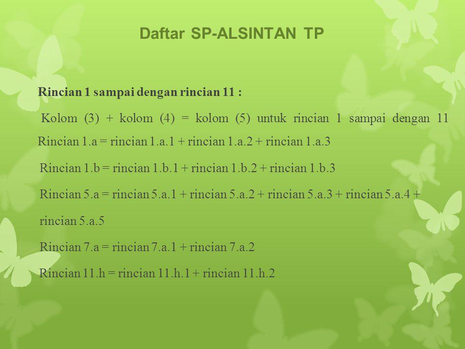 Daftar SP-ALSINTAN TP Rincian 1 sampai dengan rincian 11 : Kolom (3) + kolom (4) = kolom (5) untuk rincian 1 sampai dengan 11 Rincian 1.a = rincian 1.a.1 + rincian 1.a.2 + rincian 1.a.3 Rincian 1.b = rincian 1.b.1 + rincian 1.b.2 + rincian 1.b.3 Rincian 5.a = rincian 5.a.1 + rincian 5.a.2 + rincian 5.a.3 + rincian 5.a.4 + rincian 5.a.5 Rincian 7.a = rincian 7.a.1 + rincian 7.a.2 Rincian 11.h = rincian 11.h.1 + rincian 11.h.2