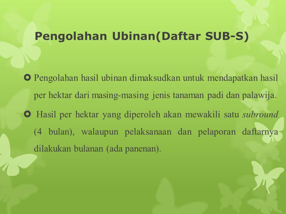 Pengolahan Ubinan(Daftar SUB-S)  Pengolahan hasil ubinan dimaksudkan untuk mendapatkan hasil per hektar dari masing-masing jenis tanaman padi dan pal