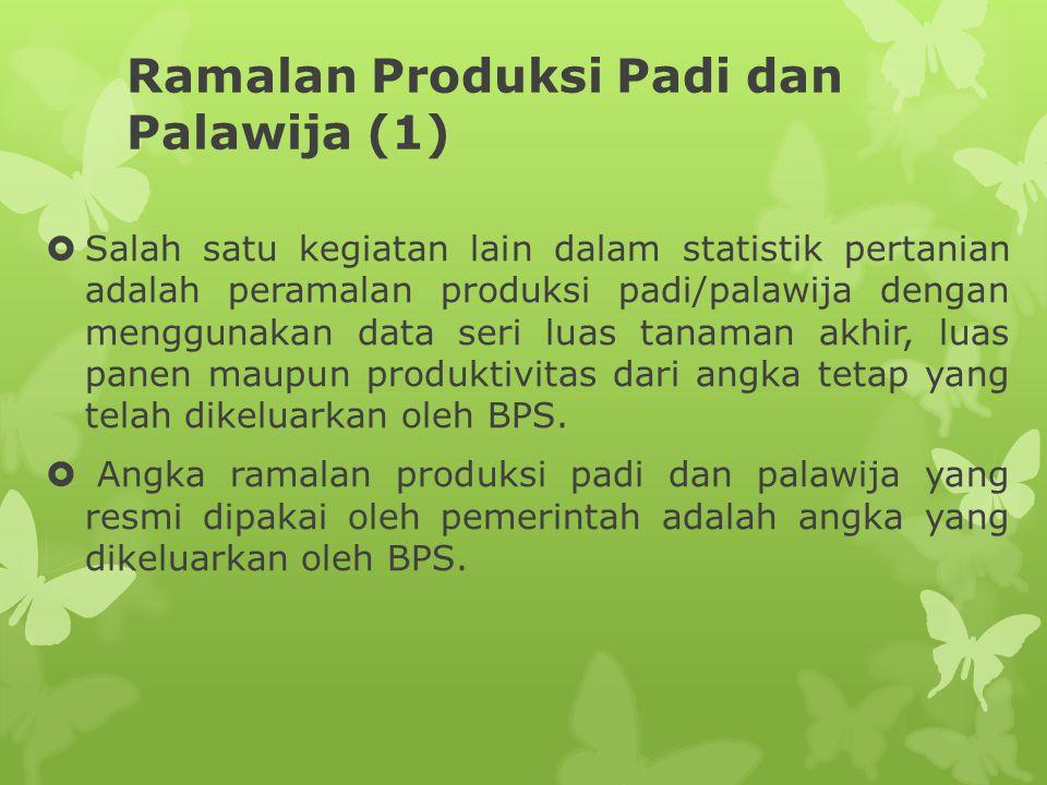 Ramalan Produksi Padi dan Palawija (1)  Salah satu kegiatan lain dalam statistik pertanian adalah peramalan produksi padi/palawija dengan menggunakan data seri luas tanaman akhir, luas panen maupun produktivitas dari angka tetap yang telah dikeluarkan oleh BPS.