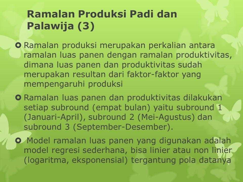 Ramalan Produksi Padi dan Palawija (3)  Ramalan produksi merupakan perkalian antara ramalan luas panen dengan ramalan produktivitas, dimana luas pane