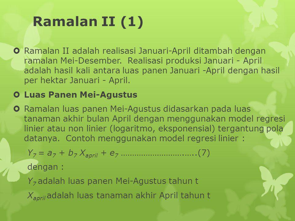 Ramalan II (1)  Ramalan II adalah realisasi Januari-April ditambah dengan ramalan Mei-Desember. Realisasi produksi Januari - April adalah hasil kali