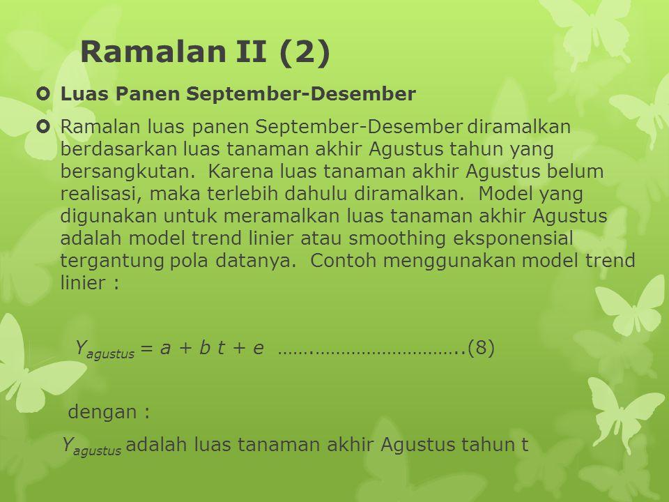 Ramalan II (2)  Luas Panen September-Desember  Ramalan luas panen September-Desember diramalkan berdasarkan luas tanaman akhir Agustus tahun yang bersangkutan.