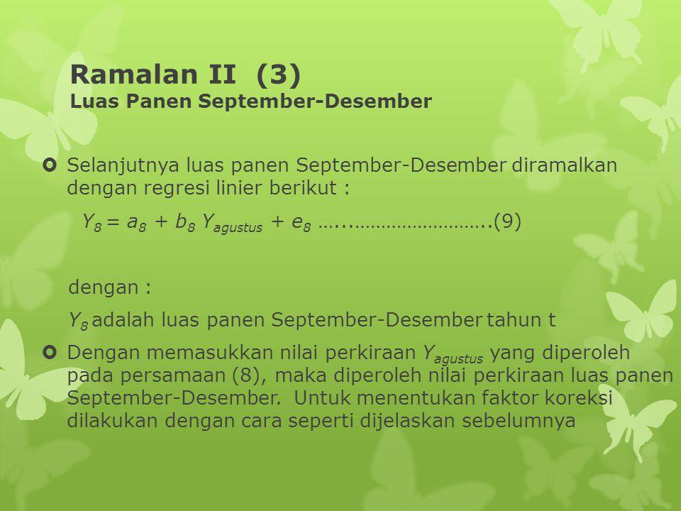 Ramalan II (3) Luas Panen September-Desember  Selanjutnya luas panen September-Desember diramalkan dengan regresi linier berikut : Y 8 = a 8 + b 8 Y agustus + e 8 …...……………………..(9) dengan : Y 8 adalah luas panen September-Desember tahun t  Dengan memasukkan nilai perkiraan Y agustus yang diperoleh pada persamaan (8), maka diperoleh nilai perkiraan luas panen September-Desember.