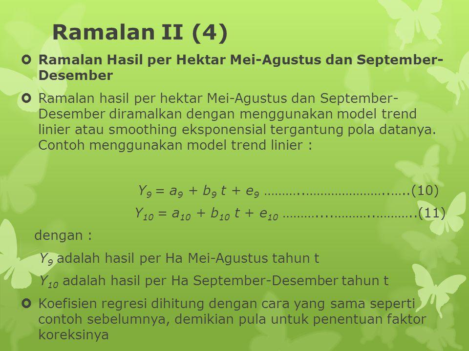 Ramalan II (4)  Ramalan Hasil per Hektar Mei-Agustus dan September- Desember  Ramalan hasil per hektar Mei-Agustus dan September- Desember diramalkan dengan menggunakan model trend linier atau smoothing eksponensial tergantung pola datanya.