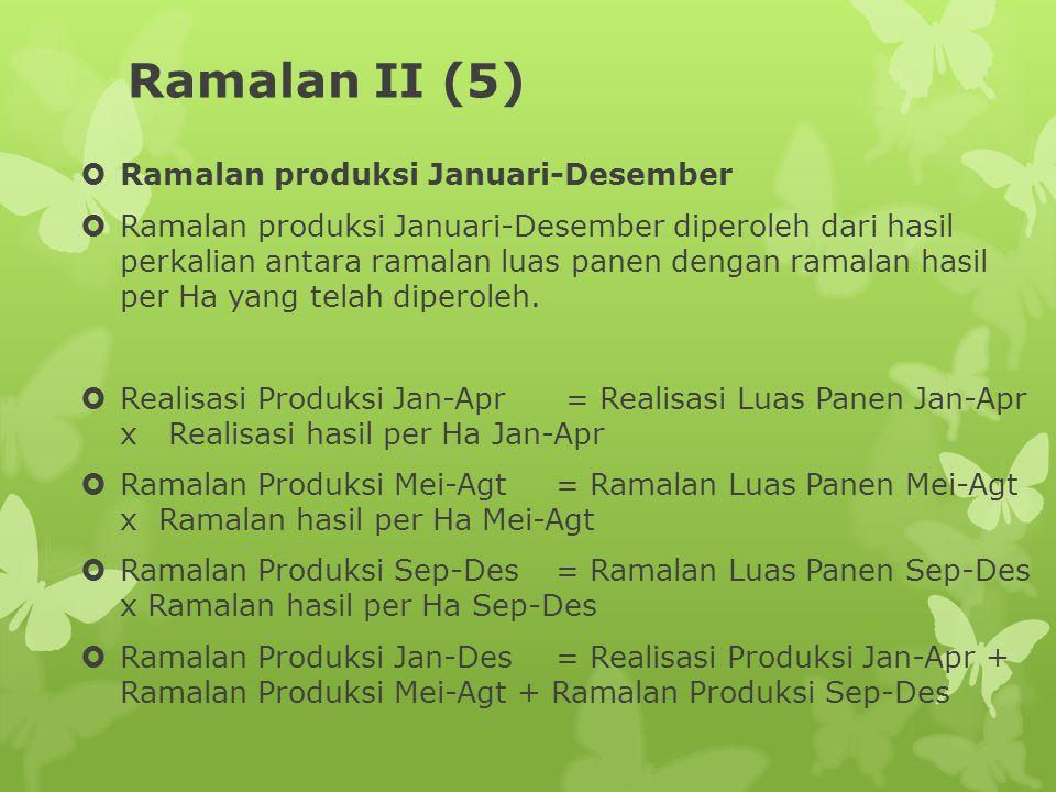 Ramalan II (5)  Ramalan produksi Januari-Desember  Ramalan produksi Januari-Desember diperoleh dari hasil perkalian antara ramalan luas panen dengan ramalan hasil per Ha yang telah diperoleh.