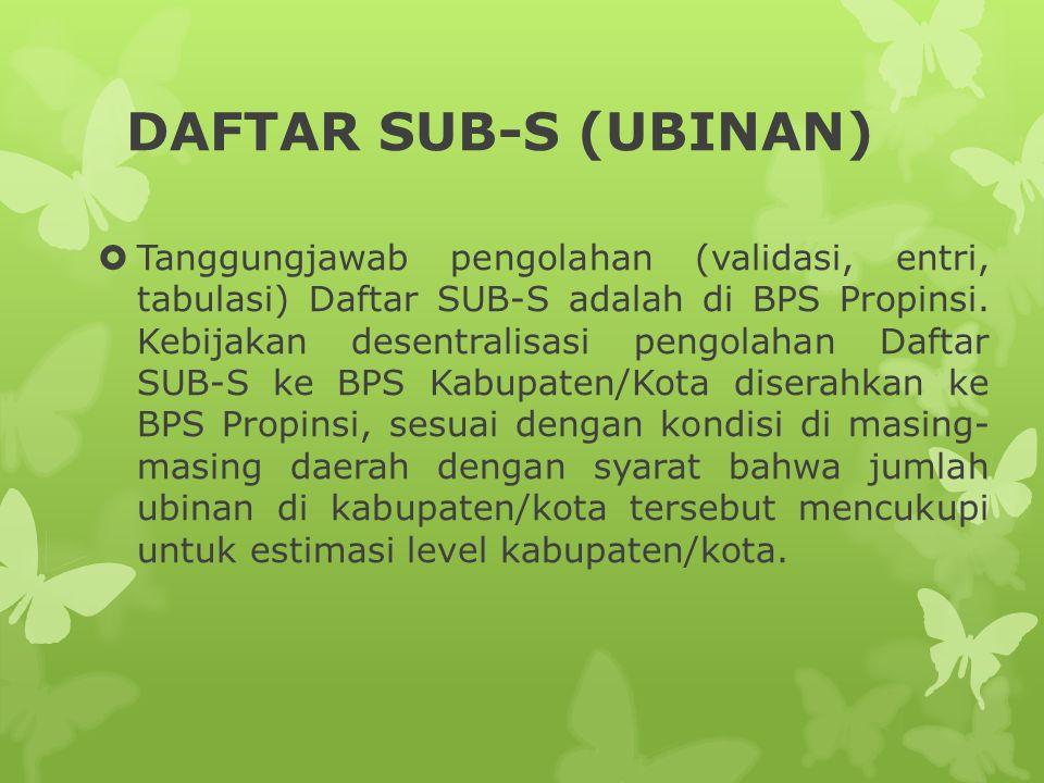 DAFTAR SUB-S (UBINAN)  Tanggungjawab pengolahan (validasi, entri, tabulasi) Daftar SUB-S adalah di BPS Propinsi. Kebijakan desentralisasi pengolahan