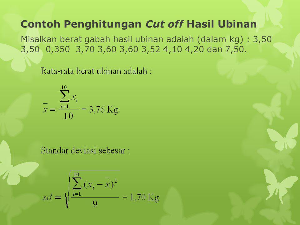 Contoh Penghitungan Cut off Hasil Ubinan Misalkan berat gabah hasil ubinan adalah (dalam kg) : 3,50 3,50 0,350 3,70 3,60 3,60 3,52 4,10 4,20 dan 7,50.