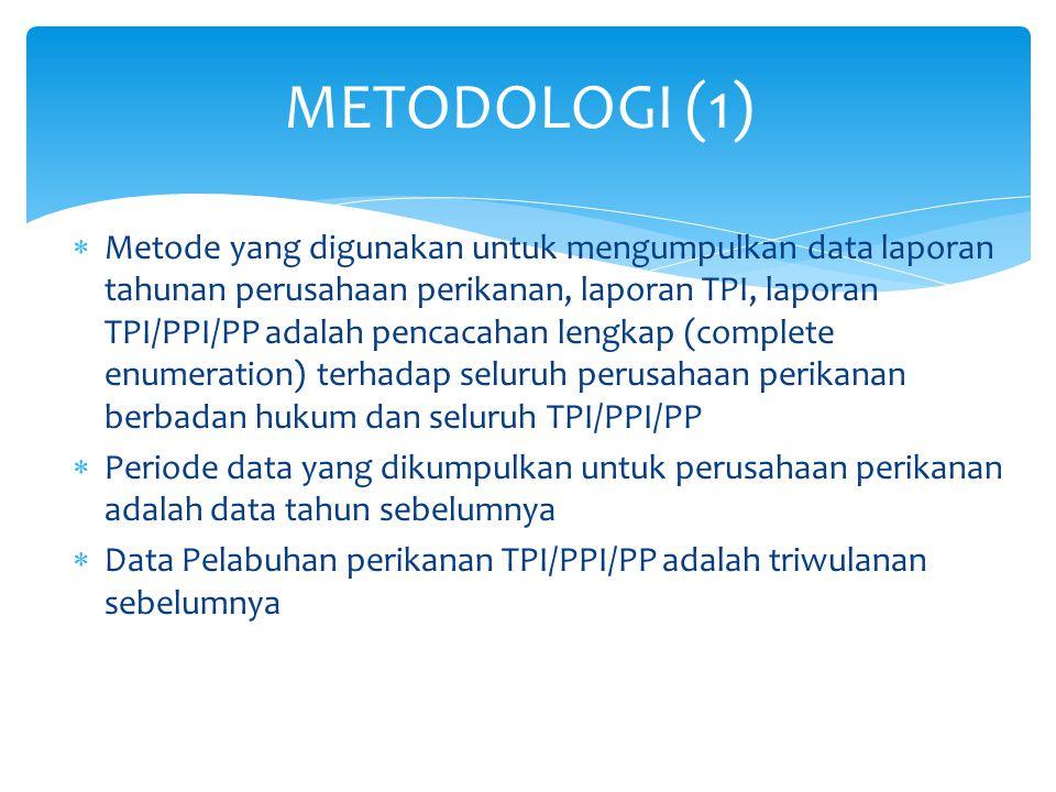  Metode yang digunakan untuk mengumpulkan data laporan tahunan perusahaan perikanan, laporan TPI, laporan TPI/PPI/PP adalah pencacahan lengkap (compl