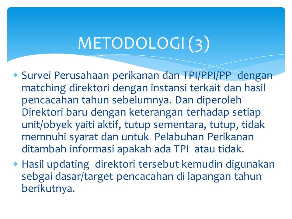  Survei Perusahaan perikanan dan TPI/PPI/PP dengan matching direktori dengan instansi terkait dan hasil pencacahan tahun sebelumnya. Dan diperoleh Di