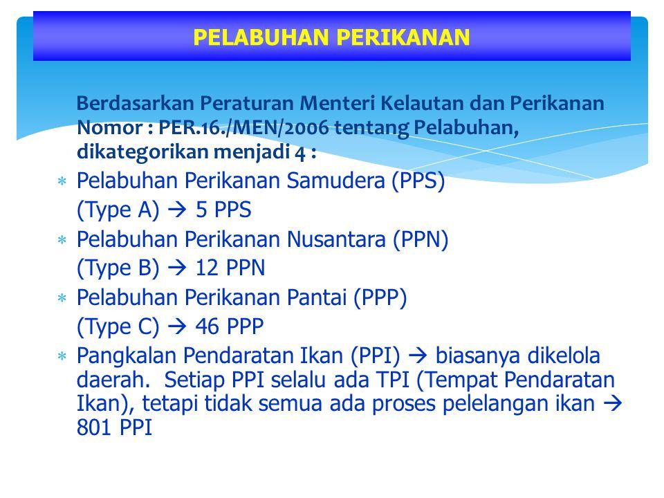 Berdasarkan Peraturan Menteri Kelautan dan Perikanan Nomor : PER.16./MEN/2006 tentang Pelabuhan, dikategorikan menjadi 4 :  Pelabuhan Perikanan Samud