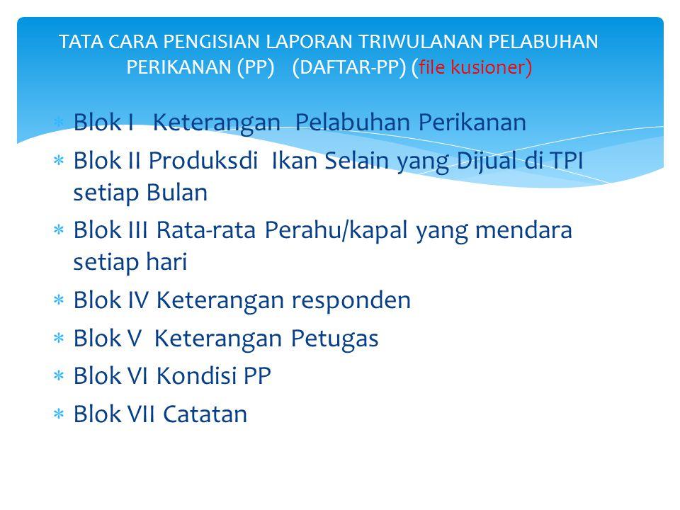  Blok I Keterangan Pelabuhan Perikanan  Blok II Produksdi Ikan Selain yang Dijual di TPI setiap Bulan  Blok III Rata-rata Perahu/kapal yang mendara