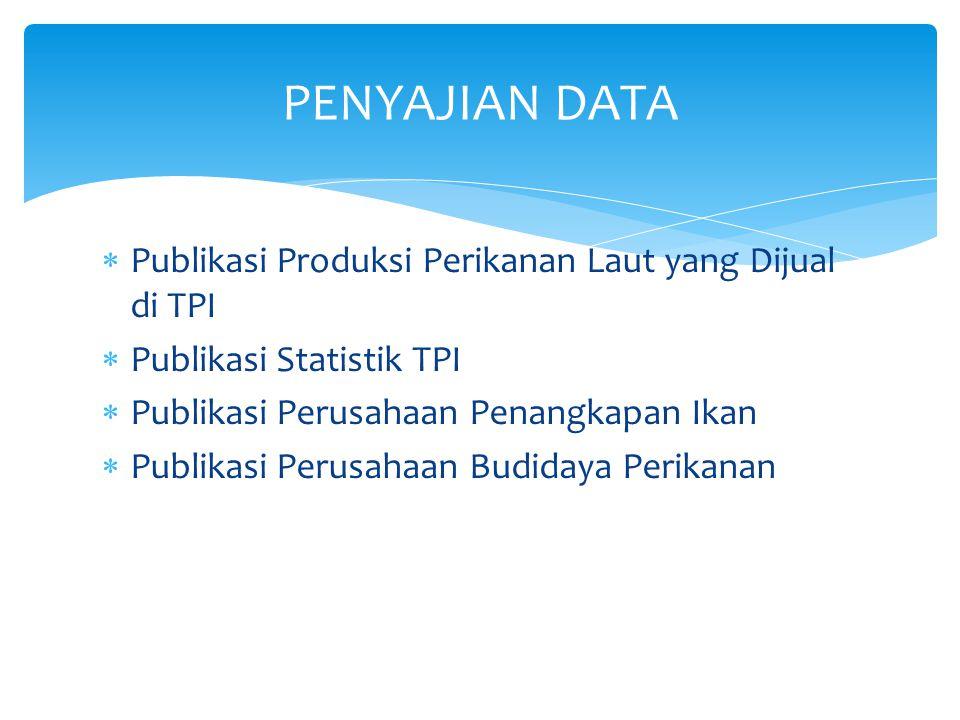  Publikasi Produksi Perikanan Laut yang Dijual di TPI  Publikasi Statistik TPI  Publikasi Perusahaan Penangkapan Ikan  Publikasi Perusahaan Budida
