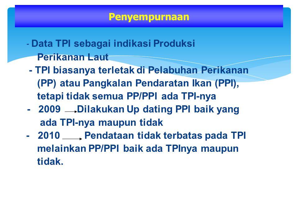 - Data TPI sebagai indikasi Produksi Perikanan Laut - TPI biasanya terletak di Pelabuhan Perikanan (PP) atau Pangkalan Pendaratan Ikan (PPI), tetapi t