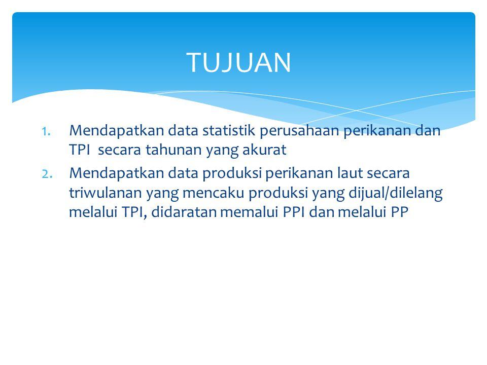 NoKriteriaPPSPPNPPPPPI (1)(2)(3)(4)(5)(6) 1Daerah operasional yang dilayani Wilayah laut territorial, ZEE, perairan internasional ZEE, laut teritorial Perairan pedalaman, kepulauan, teritorial, ZEE Perairan pedalaman dan kepulauan 2Fasilitas tanbat/labuh kapal>60 GT30-60 GT10-30 GT3-10 GT 3 Panjang dermaga dan kedalaman kolam >300 m dan >3 m150-300m dan >3 m10-150 m dan >2 m50-100 m dan >2 m 4Kapasitas menampung kapal >6000 GT (ekivalen 100 kapal @ 60 GT) >2250 GT (ekivalen 75 kapal @ 30 GT) >300 GT (ekivalen 30 kapal @ 10 GT) >60 GT (ekivalen 20 kapal @ 3 GT) 5Volume ikan yang didaratkanRata2 60 ton/hariRata2 30 ton/hariRata2 15-20 ton/hari Rata2 10 Ton/hari 6Ekspor ikanYa Tidak 7Luas lahan>30 Ha15-30 Ha5-15 Ha2-5 Ha 8 Fasilitas pembinaan mutu hasil perikanan AdaAda/TidakTidak 9 Tata ruang (zonasi) pengolahan/ pengembangan industri perikanan Ada Tidak