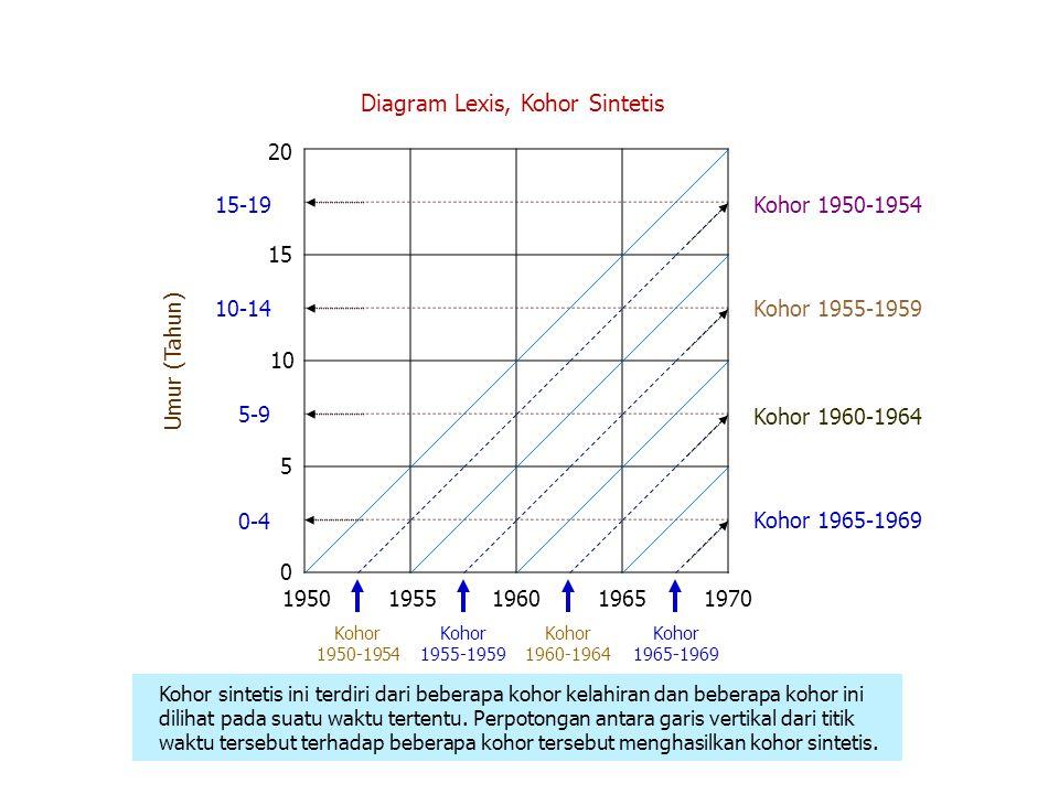 Diagram Lexis, Kohor Sintetis 0 5 10 15 20 0-4 5-9 10-14 15-19 Umur (Tahun) 19501955196019651970 Kohor 1950-1954 Kohor 1955-1959 Kohor 1960-1964 Kohor 1965-1969 Kohor sintetis ini terdiri dari beberapa kohor kelahiran dan beberapa kohor ini dilihat pada suatu waktu tertentu.