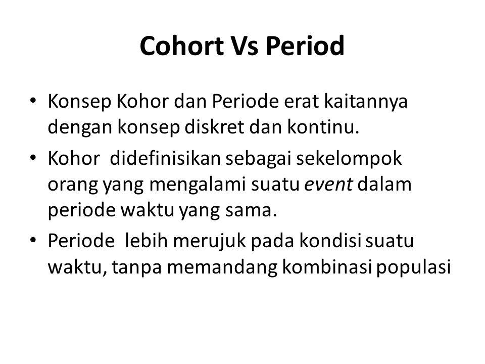 Cohort Vs Period Konsep Kohor dan Periode erat kaitannya dengan konsep diskret dan kontinu.