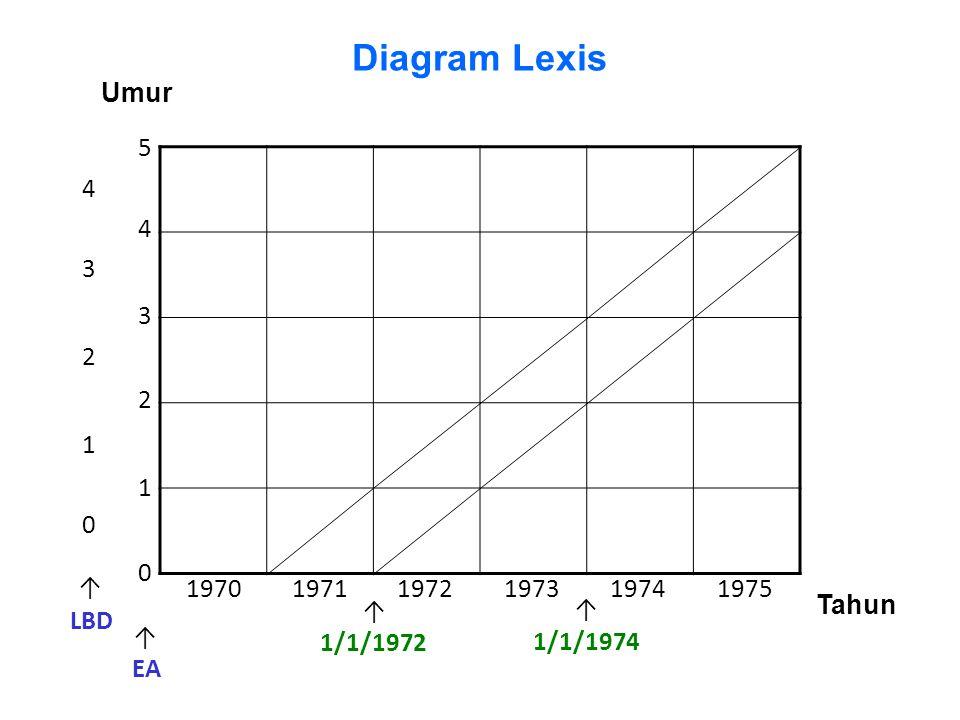 5 0 3 2 1 4 0 1 2 3 4 LBD EA ↑ ↑ Tahun 197019751974197319721971 1/1/1972 1/1/1974 Umur ↑ ↑ Diagram Lexis