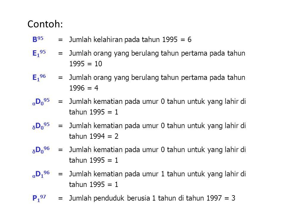 B 95 =Jumlah kelahiran pada tahun 1995 = 6 E 1 95 = Jumlah orang yang berulang tahun pertama pada tahun 1995 = 10 E 1 96 = Jumlah orang yang berulang tahun pertama pada tahun 1996 = 4 α D 0 95 = Jumlah kematian pada umur 0 tahun untuk yang lahir di tahun 1995 = 1 δ D 0 95 = Jumlah kematian pada umur 0 tahun untuk yang lahir di tahun 1994 = 2 δ D 0 96 = Jumlah kematian pada umur 0 tahun untuk yang lahir di tahun 1995 = 1 α D 1 96 = Jumlah kematian pada umur 1 tahun untuk yang lahir di tahun 1995 = 1 P197P197 =Jumlah penduduk berusia 1 tahun di tahun 1997 = 3 Contoh: