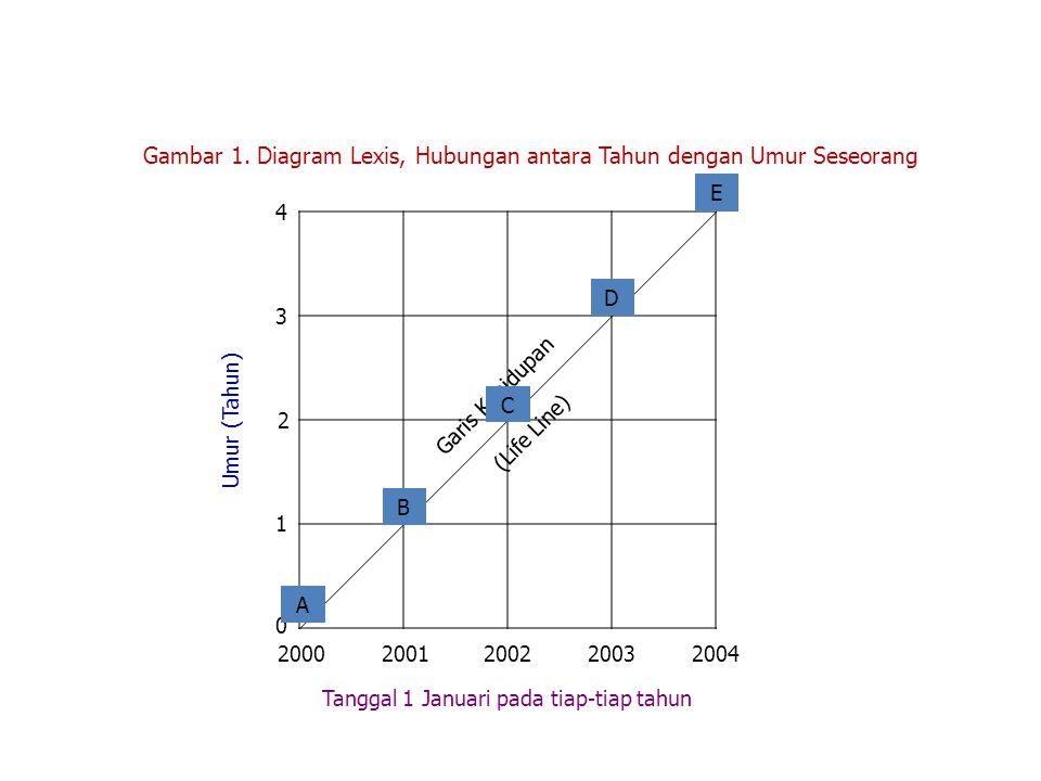 Umur (Tahun) Garis Kehidupan (Life Line) Gambar 1. Diagram Lexis, Hubungan antara Tahun dengan Umur Seseorang E 20002001200220032004 Tanggal 1 Januari