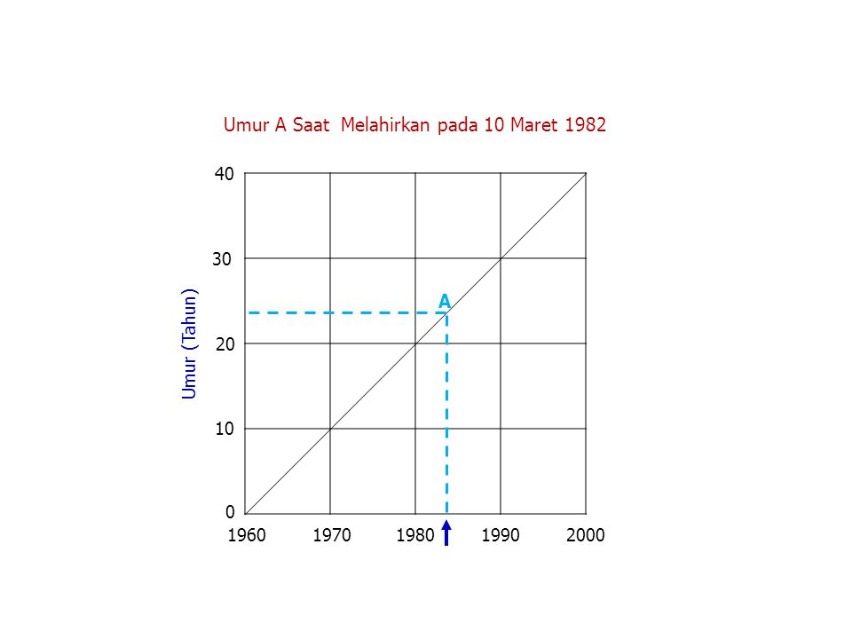 Umur (Tahun) Umur A Saat Melahirkan pada 10 Maret 1982 19601970198019902000 0 10 20 30 40 A