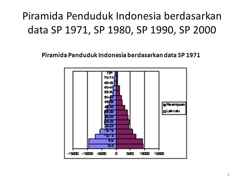 Piramida Penduduk Indonesia berdasarkan data SP 1971, SP 1980, SP 1990, SP 2000 Piramida Penduduk Indonesia berdasarkan data SP 1980 9