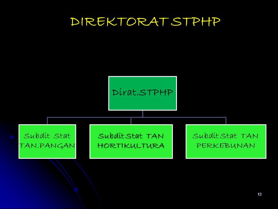 DIREKTORAT STPHP Dirat.STPHP Subdit Stat TAN.PANGAN Subdit Stat TAN HORTIKULTURA Subdit Stat TAN PERKEBUNAN 13
