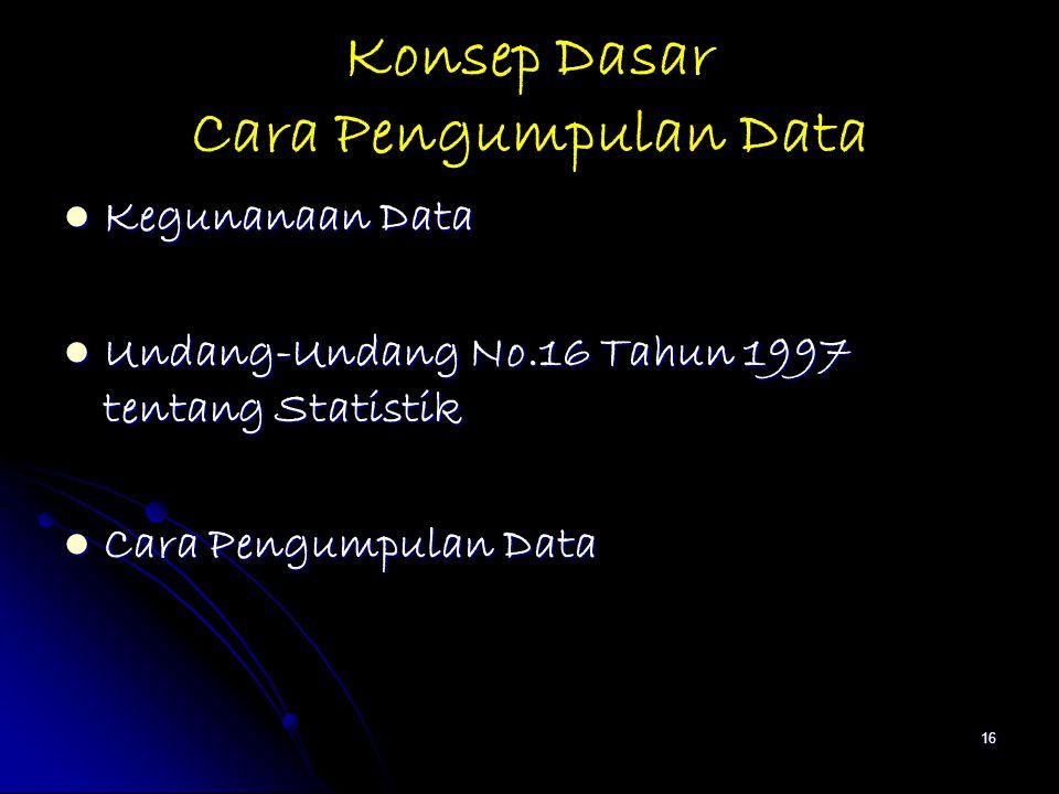 16 Konsep Dasar Cara Pengumpulan Data Kegunanaan Data Kegunanaan Data Undang-Undang No.16 Tahun 1997 tentang Statistik Undang-Undang No.16 Tahun 1997