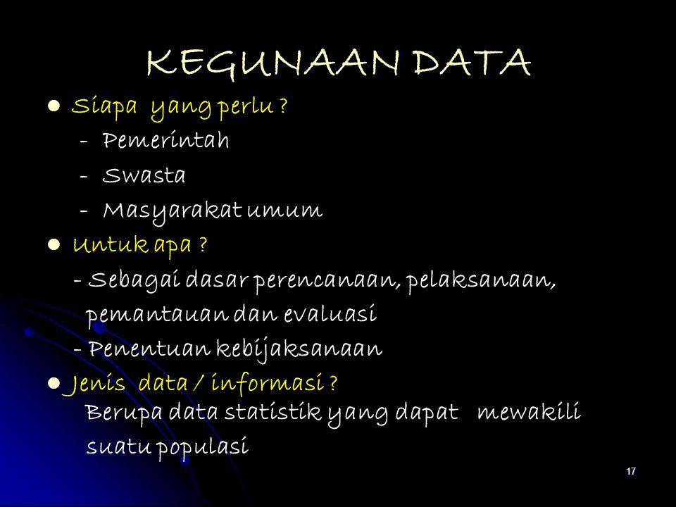 17 KEGUNAAN DATA Siapa yang perlu ? - Pemerintah - Swasta - Masyarakat umum Untuk apa ? - Sebagai dasar perencanaan, pelaksanaan, pemantauan dan evalu