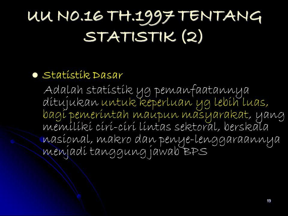 19 UU N0.16 TH.1997 TENTANG STATISTIK (2) Statistik Dasar Adalah statistik yg pemanfaatannya ditujukan untuk keperluan yg lebih luas, bagi pemerintah