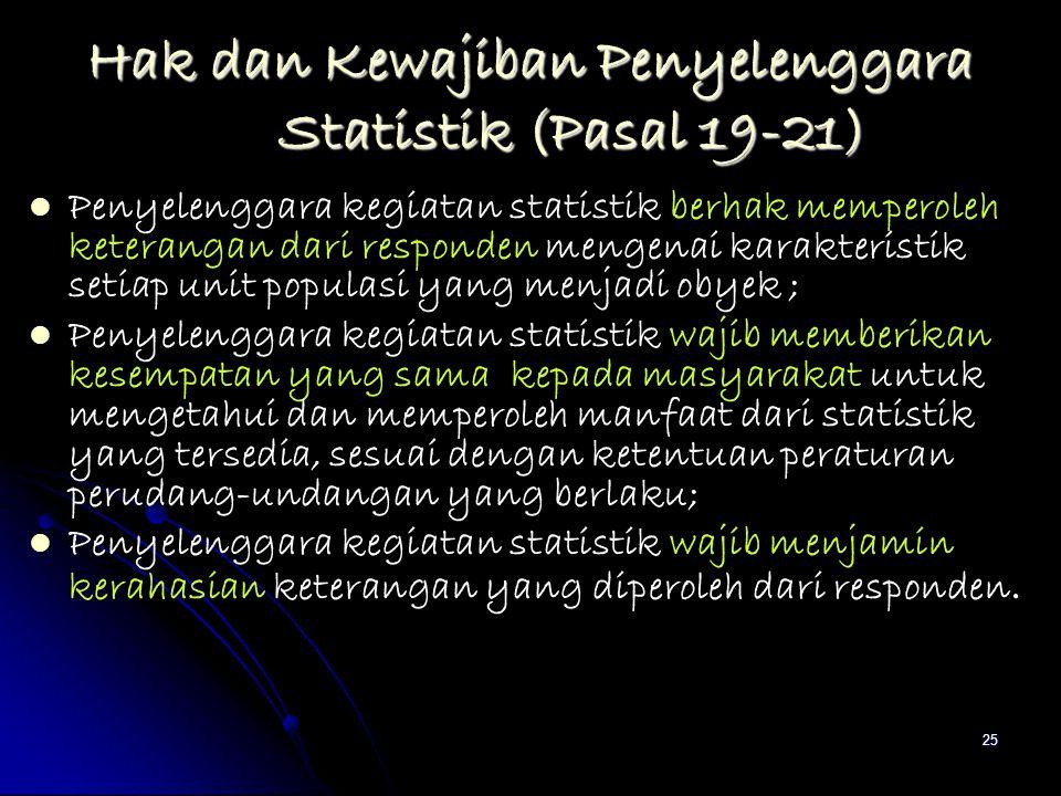 25 Hak dan Kewajiban Penyelenggara Statistik (Pasal 19-21) Penyelenggara kegiatan statistik berhak memperoleh keterangan dari responden mengenai karak