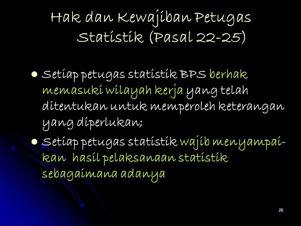 26 Hak dan Kewajiban Petugas Statistik (Pasal 22-25) Setiap petugas statistik BPS berhak memasuki wilayah kerja yang telah ditentukan untuk memperoleh