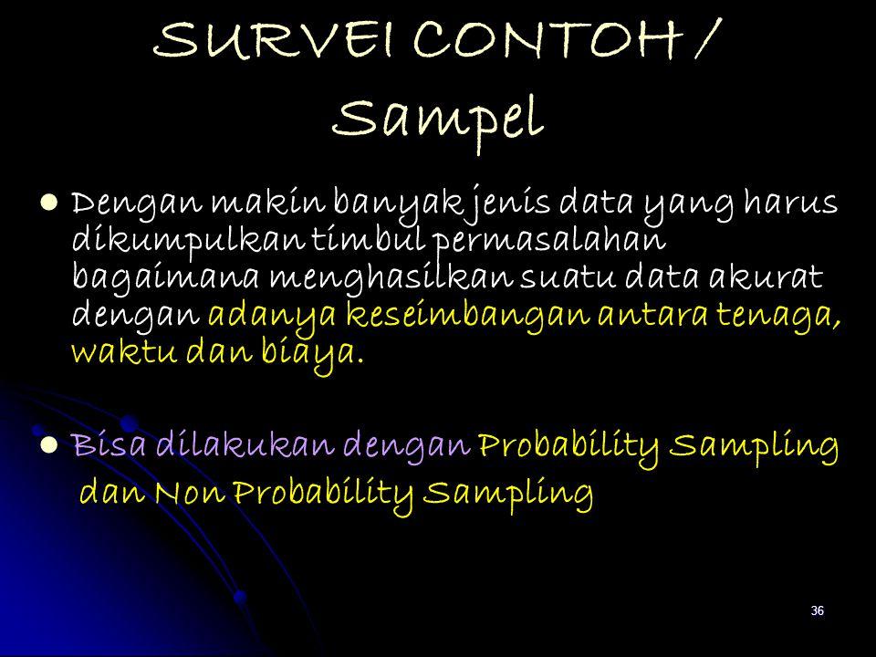 36 SURVEI CONTOH / Sampel Dengan makin banyak jenis data yang harus dikumpulkan timbul permasalahan bagaimana menghasilkan suatu data akurat dengan ad