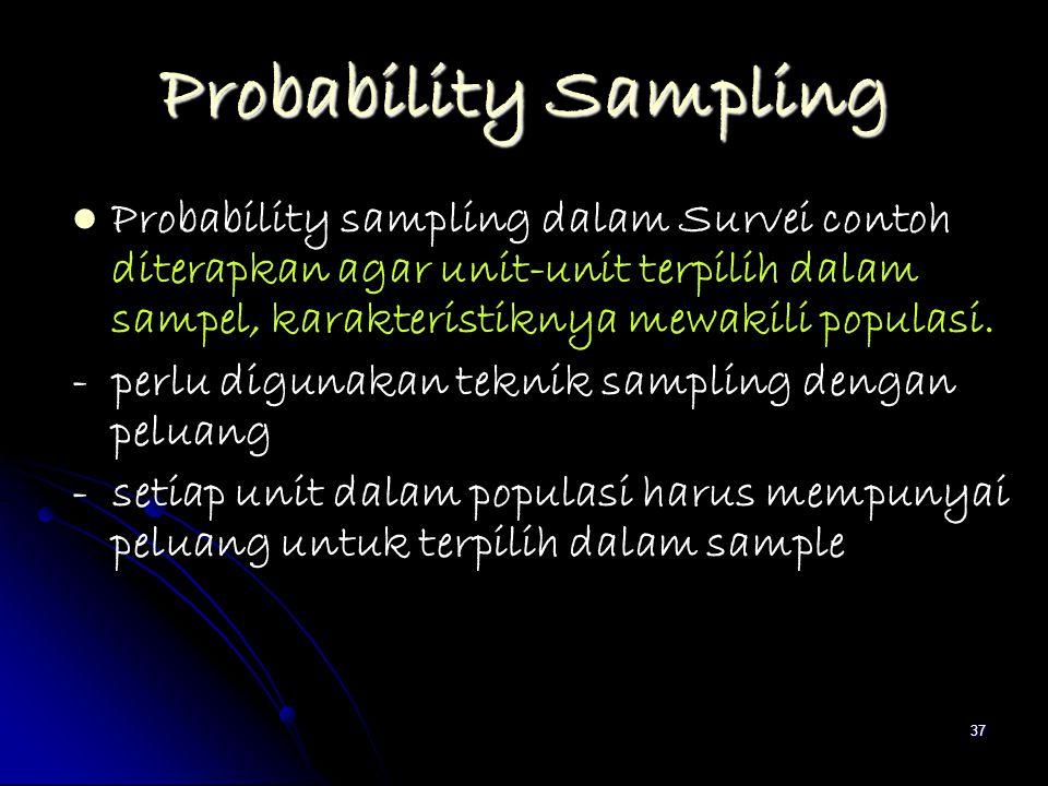 37 Probability Sampling Probability sampling dalam Survei contoh diterapkan agar unit-unit terpilih dalam sampel, karakteristiknya mewakili populasi.