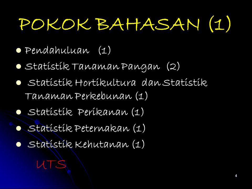 POKOK BAHASAN (1) Pendahuluan (1) Statistik Tanaman Pangan (2) Statistik Hortikultura dan Statistik Tanaman Perkebunan (1) Statistik Perikanan (1) Sta