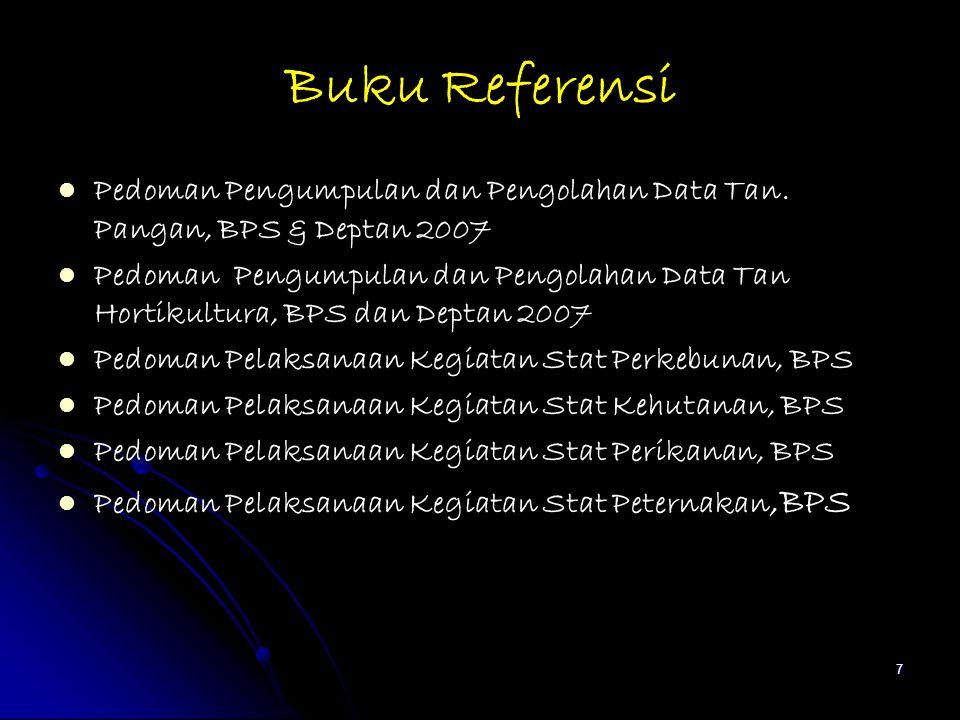 Buku Referensi Pedoman Pengumpulan dan Pengolahan Data Tan. Pangan, BPS & Deptan 2007 Pedoman Pengumpulan dan Pengolahan Data Tan Hortikultura, BPS da