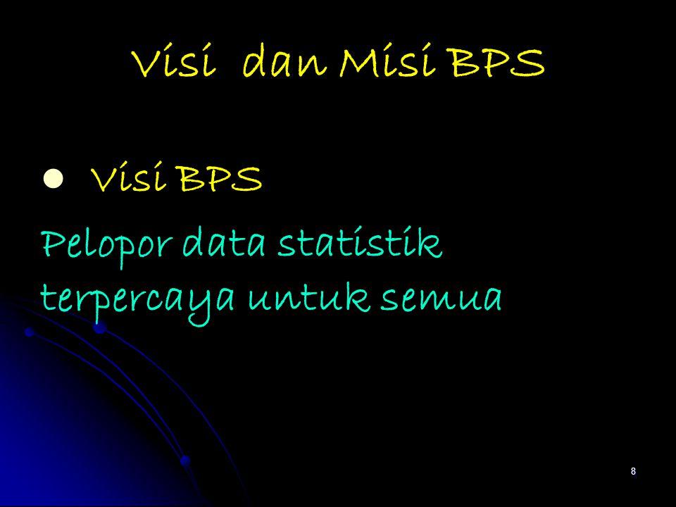 Visi dan Misi BPS Visi BPS Pelopor data statistik terpercaya untuk semua 8
