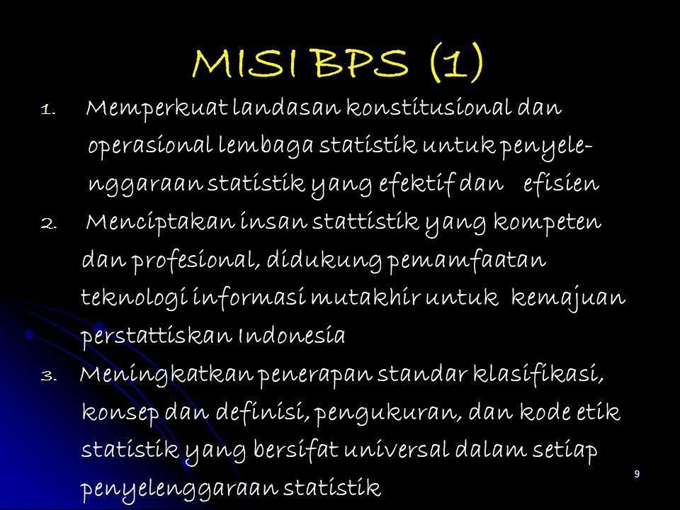 MISI BPS (1) 1. 1. Memperkuat landasan konstitusional dan operasional lembaga statistik untuk penyele- nggaraan statistik yang efektif dan efisien 2.