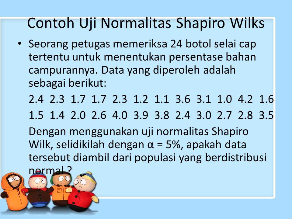 Contoh Uji Normalitas Shapiro Wilks Seorang petugas memeriksa 24 botol selai cap tertentu untuk menentukan persentase bahan campurannya. Data yang dip