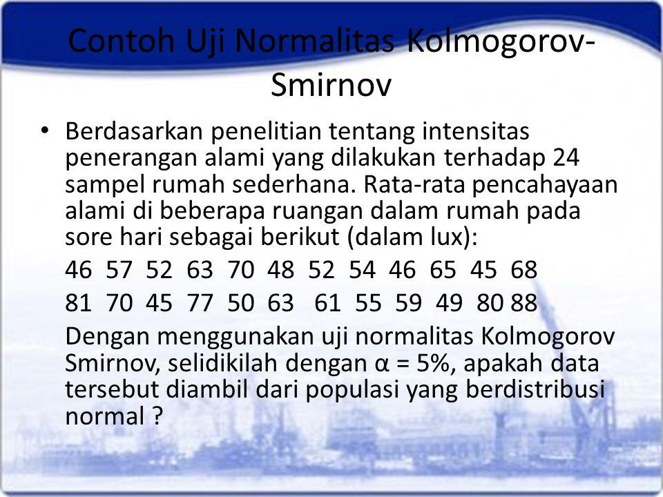 Contoh Uji Normalitas Kolmogorov- Smirnov Berdasarkan penelitian tentang intensitas penerangan alami yang dilakukan terhadap 24 sampel rumah sederhana.