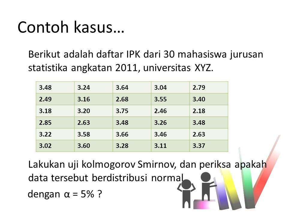 Contoh kasus… Berikut adalah daftar IPK dari 30 mahasiswa jurusan statistika angkatan 2011, universitas XYZ. Lakukan uji kolmogorov Smirnov, dan perik