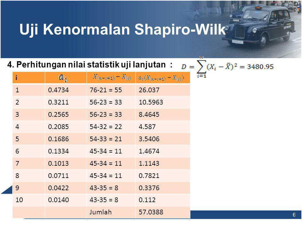 7 7 Uji Kenormalan Shapiro-Wilk 4. Perhitungan nilai statistik uji lanjutan :