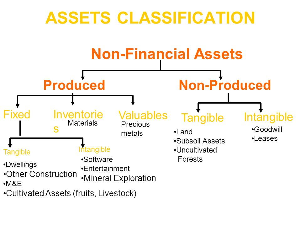 ASSETS CLASSIFICATION Produced Non-Financial Assets Non-Produced Dwellings Other Construction M&E Cultivated Assets (fruits, Livestock) Land Subsoil A