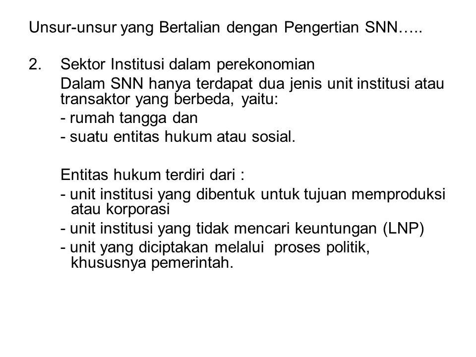 Unsur-unsur yang Bertalian dengan Pengertian SNN….. 2.Sektor Institusi dalam perekonomian Dalam SNN hanya terdapat dua jenis unit institusi atau trans