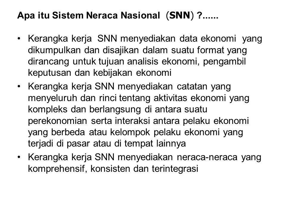 Apa itu Sistem Neraca Nasional (SNN) ?...... Kerangka kerja SNN menyediakan data ekonomi yang dikumpulkan dan disajikan dalam suatu format yang diranc