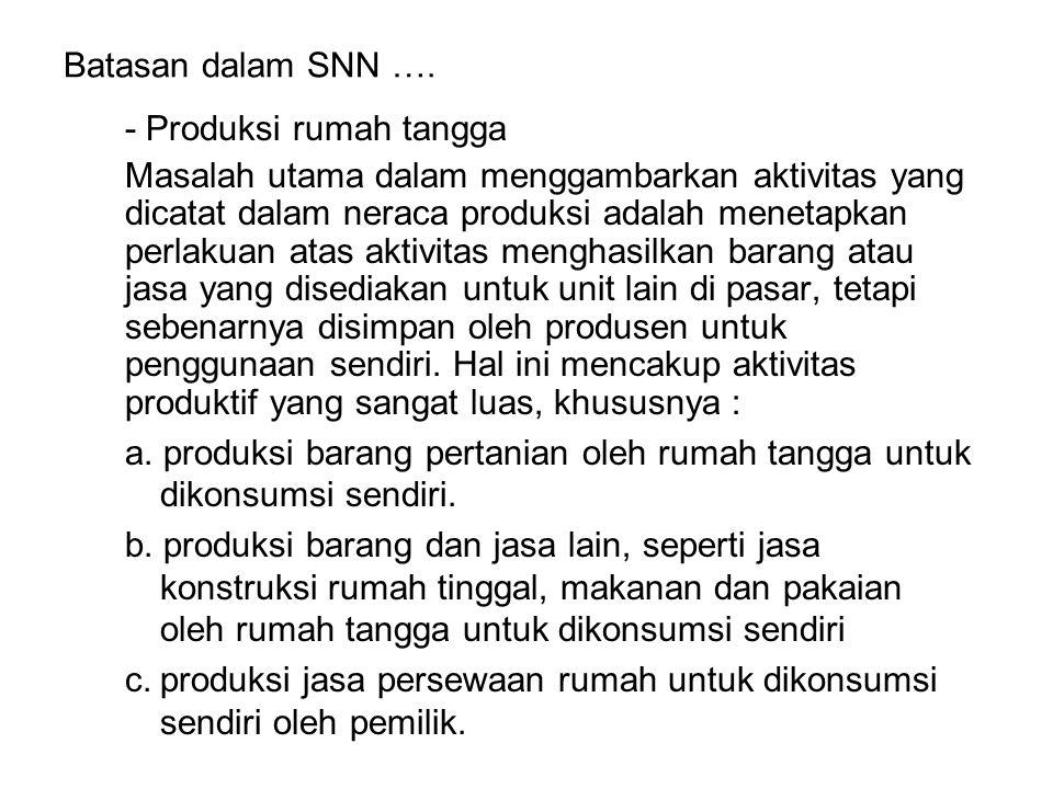 Batasan dalam SNN …. - Produksi rumah tangga Masalah utama dalam menggambarkan aktivitas yang dicatat dalam neraca produksi adalah menetapkan perlakua