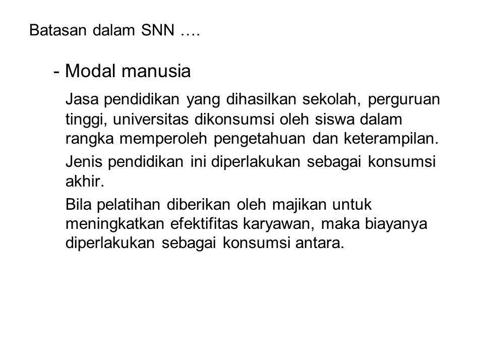 Batasan dalam SNN …. - Modal manusia Jasa pendidikan yang dihasilkan sekolah, perguruan tinggi, universitas dikonsumsi oleh siswa dalam rangka mempero