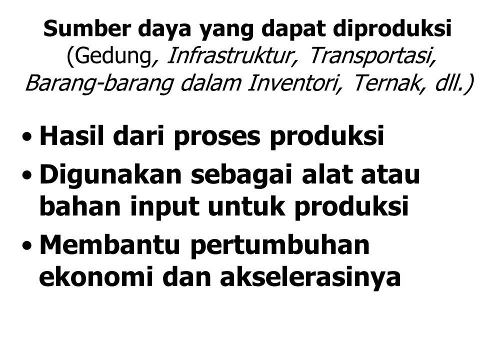 Sumber daya yang dapat diproduksi (Gedung, Infrastruktur, Transportasi, Barang-barang dalam Inventori, Ternak, dll.) Hasil dari proses produksi Diguna