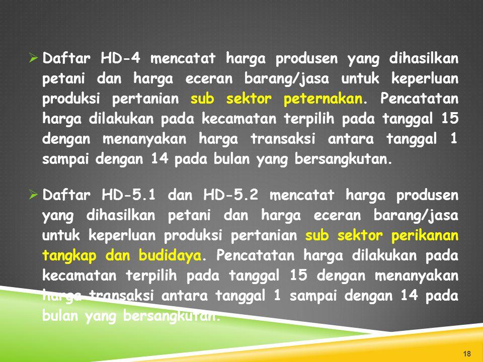  Daftar HD-4 mencatat harga produsen yang dihasilkan petani dan harga eceran barang/jasa untuk keperluan produksi pertanian sub sektor peternakan. Pe