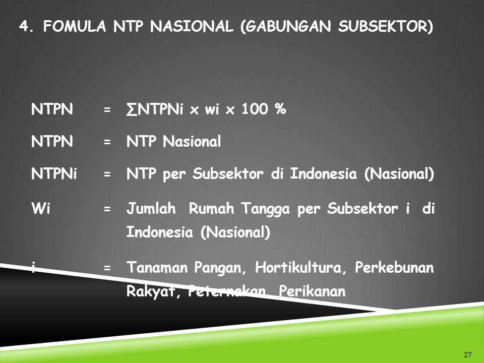 4.FOMULA NTP NASIONAL (GABUNGAN SUBSEKTOR) 27 NTPN=∑NTPNi x wi x 100 % NTPN=NTP Nasional NTPNi=NTP per Subsektor di Indonesia (Nasional) Wi=Jumlah Rum
