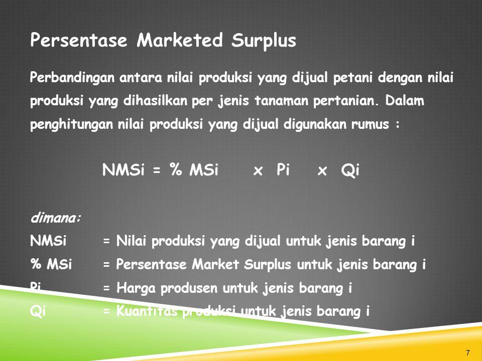 Persentase Marketed Surplus Perbandingan antara nilai produksi yang dijual petani dengan nilai produksi yang dihasilkan per jenis tanaman pertanian. D